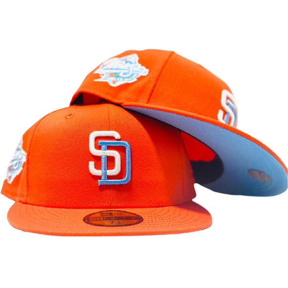 SAN DIEGO PADRES 1998 WORLD SERIES ORANGE ICY BLUE  BRIM NEW ERA FITTED HAT