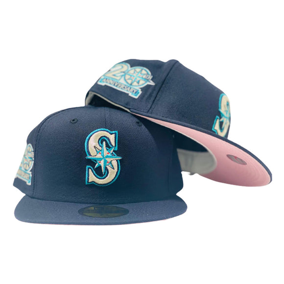 SEATTLE MARINERS 20TH ANNIVERSARY NAVY BLUE PINK BRIM NEW ERA FITTED HAT