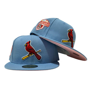 ST. LOUIS CARDINALS 2011 WORLD SERIES CHAMPIONS COTTON CANDY SKY BLUE PINK BRIM NEW ERA FITTED HAT