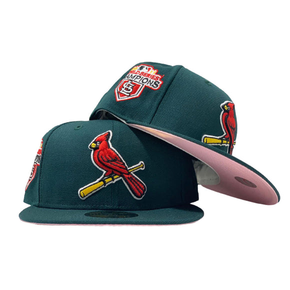 ST. LOUIS CARDINALS 2011 WORLD SERIES CHAMPIONS GREEN CAP PINK BRIM NEW ERA FITTED HAT