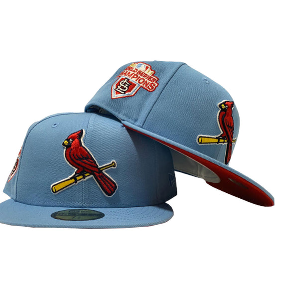 ST. LOUIS CARDINALS 2011 WORLD SERIES SKY BLUE CAP RED BRIM NEW ERA FITTED HAT