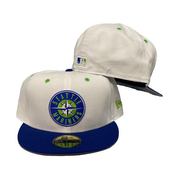 Seattle Mariners White / Royal New Era Fitted Hat.