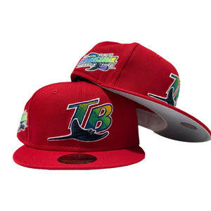 TAMPA BAY 1998 INAUGURAL SEASON RED GRAY BRIM NEW ERA FITTED HAT