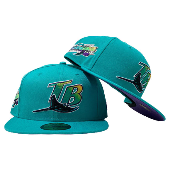 TAMPA BAY DEVIL RAYS 1998 INAUGURAL SEASON PRUPLE BRIM TEAL NEW ERA FITTED