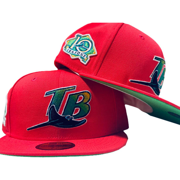 TAMPA BAY10TH SEASON SALMON PINK LIME GREEN BRIM NEW ERA FITTED HAT