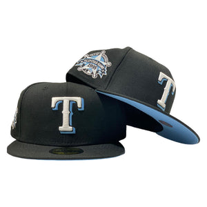 TEXAS RANGERS 1995 ALL STAR  BLACK ICY BRIM NEW ERA FITTED HAT