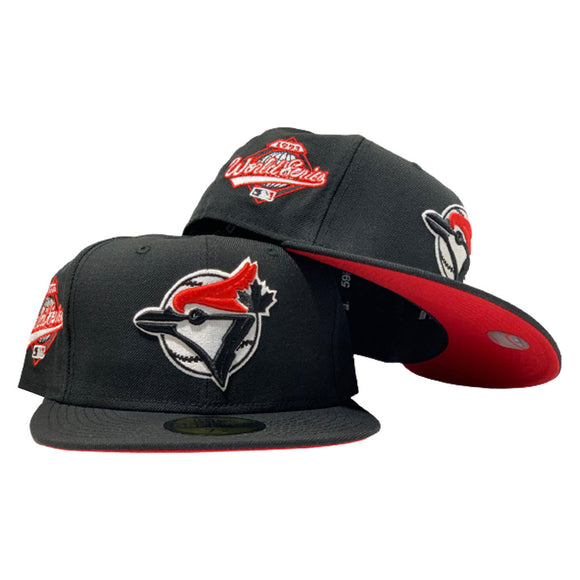 TORONTO BLUE JAYS 1993 WORLD SERIES BLACK RED BRIM NEW ERA FITTED HAT