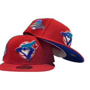 TORONTO BLUE JAYS 1993 WORLD SERIES RED CAP ROYAL BLUE UNDER VISOR NEW ERA FITTED HAT