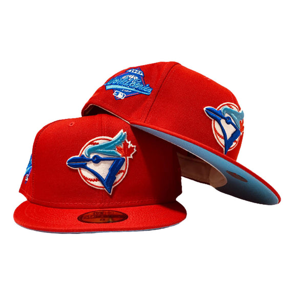 TORONTO BLUE JAYS 1993 WORLD SERIES RED ICY BRIM NEW ERA FITTED HAT