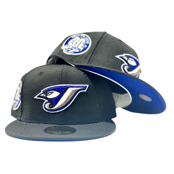 TORONTO BLUE JAYS 30TH ANNIVERSARY BLACK  ROYAL BLUE BRIM NEW ERA FITTED HAT