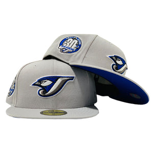 TORONTO BLUE JAYS 30TH ANNIVERSARY LIGHT GRAY ROYAL BLUE BRIM NEW ERA FITTED HAT