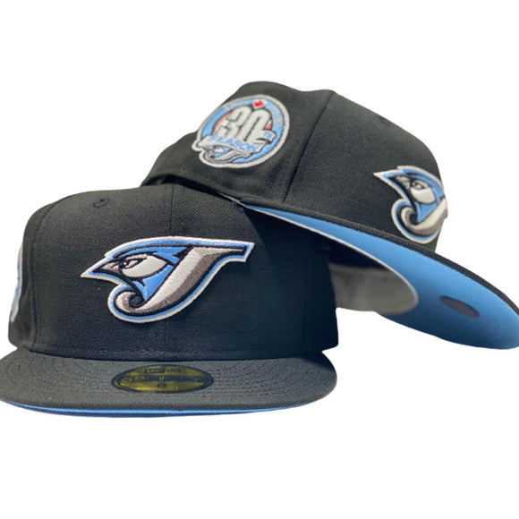 TORONTO BLUE JAYS 30TH SEASON BLACK ICY BRIM NEW ERA FITTED HAT