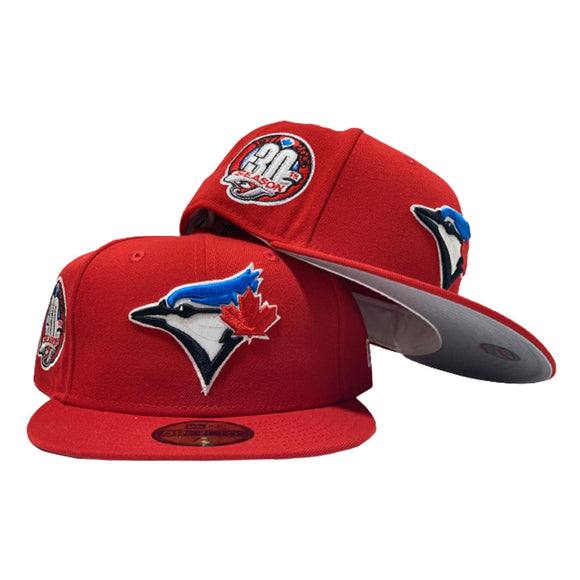 TORONTO BLUE JAYS 30TH SEASON RED GRAY BRIM NEW ERA FITTED HAT