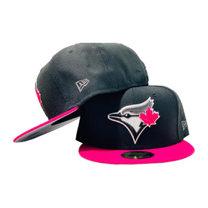 TORONTO BLUE JAYS BLACK CAP PINK VISOR NEW ERA FITTED