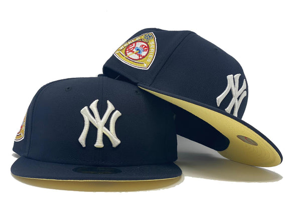 NEW YORK YANKEES 1959 WORLD SERIES NAVY BUTTER POPCORN YELLOW BRIM NEW ERA FITTED HAT