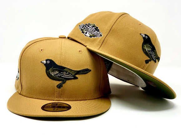 BALTIMORE ORIOLES 2011 ALL STAR GAME TAN OLIVE GREEN BRIM NEW ERA FITTED HAT
