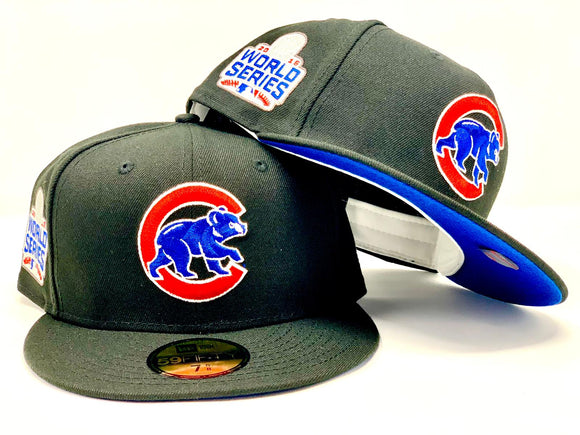 CHICAGO CUBS 2016 WORLD SERIES BLACK ROYAL BRIM NEW ERA FITTED HAT