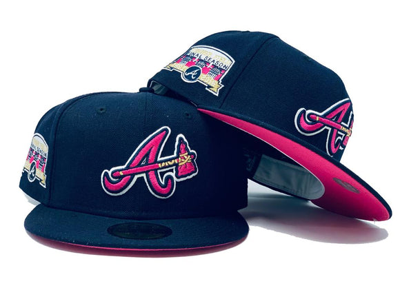 ATLANTA BRAVES TURNER FIELD FINAL SEASON NAVY FUSION PINK BRIM NEW ERA FITTED HAT