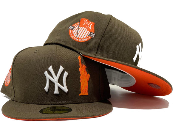 NEW YORK YANKEES STATUE OF LIBERTY BROWN ORANGE BRIM NEW ERA FITTED HAT