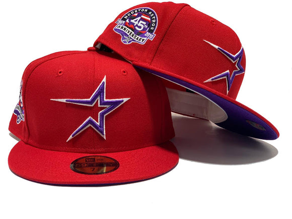 HOUSTON ASTROS 45TH ANNIVERSARY RED PURPLE BRIM NEW ERA FITTED HAT
