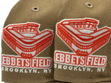 "BROOKLYN DODGERS EBBETS FIELD "" GLOW IN THE DARK"" KHAKI ORANGE BRIM NEW ERA FITTED HAT"