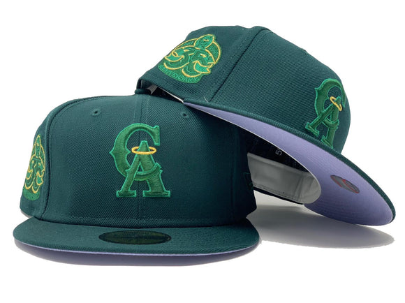 CALIFORNIA ANGELS 35TH ANNIVERSARY FOREST GREEN LAVENDER BRIM NEW ERA FITTED HAT