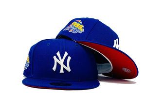 NEW YORK YANKEES 1999 WORLD SERIES ROYAL BLUE RED BRIM NEW ERA FITTED HAT