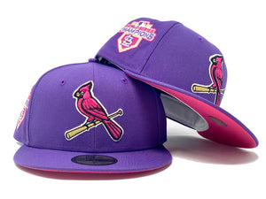 ST. LOUIS CARDINALS 2011 WORLD SERIES CHAMPIONS PURPLE FUSION PINK BRIM NEW ERA FITTED HAT