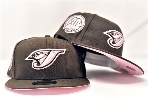 TORONTO BLUE JAYS 30TH SEASON WALNUT PINK BRIM NEW ERA FITTED HAT