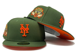 NEW YORK METS FINAL SEASON OLIVE GREEN ORANGE BRIM NEW ERA FITTED HAT