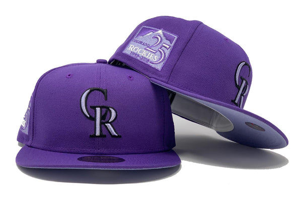 COLORADO ROCKIES 25TH ANNIVERSARY VERSITY PURPLE LAVENDER BRIM NEW ERA FITTED HAT