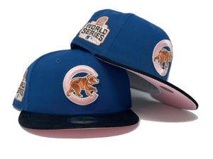 CHICAGO CUBS 2016 WORLD SERIES SEASHORE BLUE BLACK CORDUROY PINK BRIM NEW ERA FITTED HAT