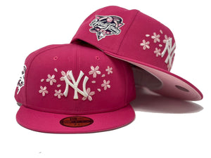 NEW YORK YANKEES 2000 WORLD SERIES BEETROOT PINK LIGHT PINK BRIM NEW ERA FITTED HAT