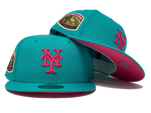NEW YORK METS 1969 WORLD SERIES TEAL FUSION PINK BRIM NEW ERA FITTED HAT