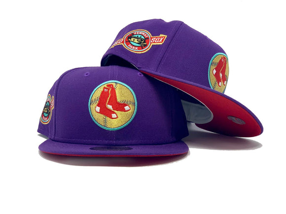 BOSTON RED SOX FENWAY PARK DEEP PURPLE RED BRIM NEW ERA FITTED HAT