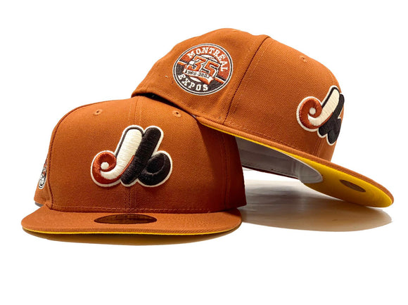 MONTREAL EXPOS 35TH SEASON RUST ORANGE YELLOW BRIM NEW ERA FITTED HAT
