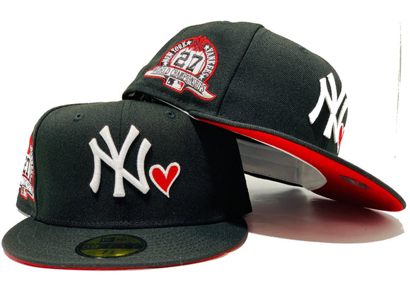 NEW YORK YANKEES 27TH CHAMPIONSHIP BLACK RED BRIM NEW ERA FITTED HAT