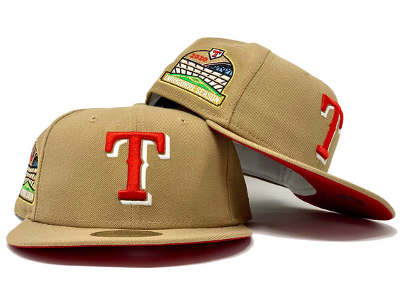 TEXAS RANGERS INAUGURAL SEASON KHAKI RED BRIM NEW ERA FITTED HAT