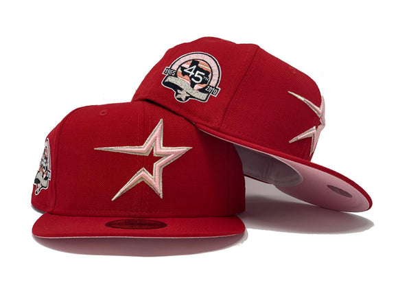 HOUSTON ASTRO 45TH ANNIVERSARY RED PINK BRIM NEW ERA FITTED HAT