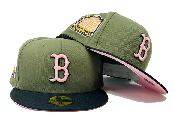 BOSTON RED SOX 1999 ALL STAR GAME OLIVE GREEN BLACK VISOR PINK BRIM NEW ERA FITTED HAT
