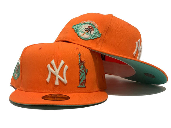 NEW YORK YANKEES STATUE OF LIBERTY 100TH ANNIVERSARY TANGO ORANGE BLUE TINT VISOR NEW ERA