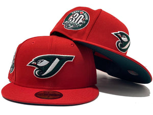TORONTO BLUE JAYS 30TH SEASON XMAS COLOR GREEN BRIM NEW ERA FITTED HAT
