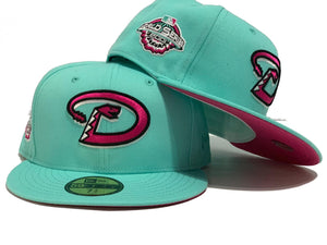 ARIZONA DIAMONDBACKS 2001 WORLD SERIES BLUE TINT FUSION PINK BRIM NEW ERA FITTED HAT