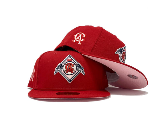 CALIFORNIA ANGELS RED PINK BRIM NEW ERA FITTED HAT