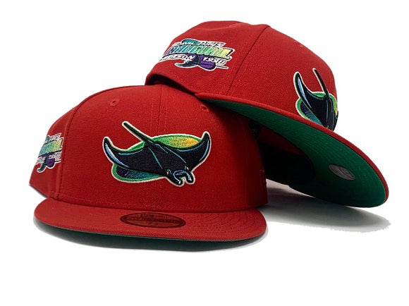 TAMPA BAY DEVIL RAYS 1998 INAUGURAL SEASON RED GREEN BRIM NEW ERA FITTED HAT