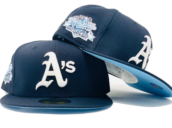 OAKLAND ATHLETICS 1989 BATTLE OF THE BAY NAVY BLUE ICY BRIM NEW ERA FITTED HAT