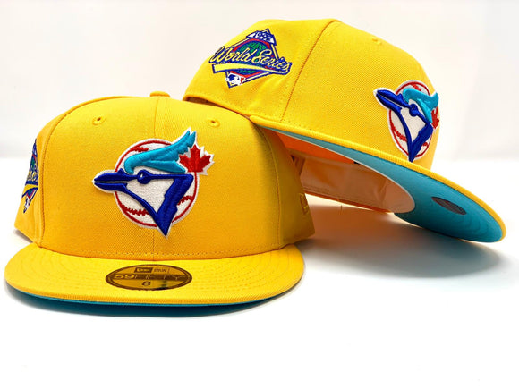 TORONTO BLUE JAYS 1192 WORLD SERIES TAXY YELLOW TEAL BRIM NEW ERA FITTED