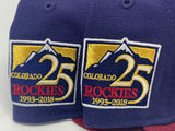 COLORADO ROCKIES 25TH ANNIVERSARY NAVY METALLIC GOLD BRIM NEW ERA FITTED HAT
