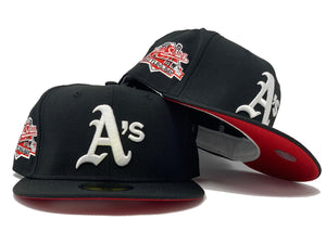 OAKLAND ATHLETICS 1989 BATTLE OF THE BAY BLACK RED BRIM NEW ERA FITTED HAT