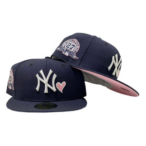 NEW YORK YANKEES 27TH CHAMPIONSHIP WITH HEART NAVY PINK BRIM NEW ERA FITTED HAT